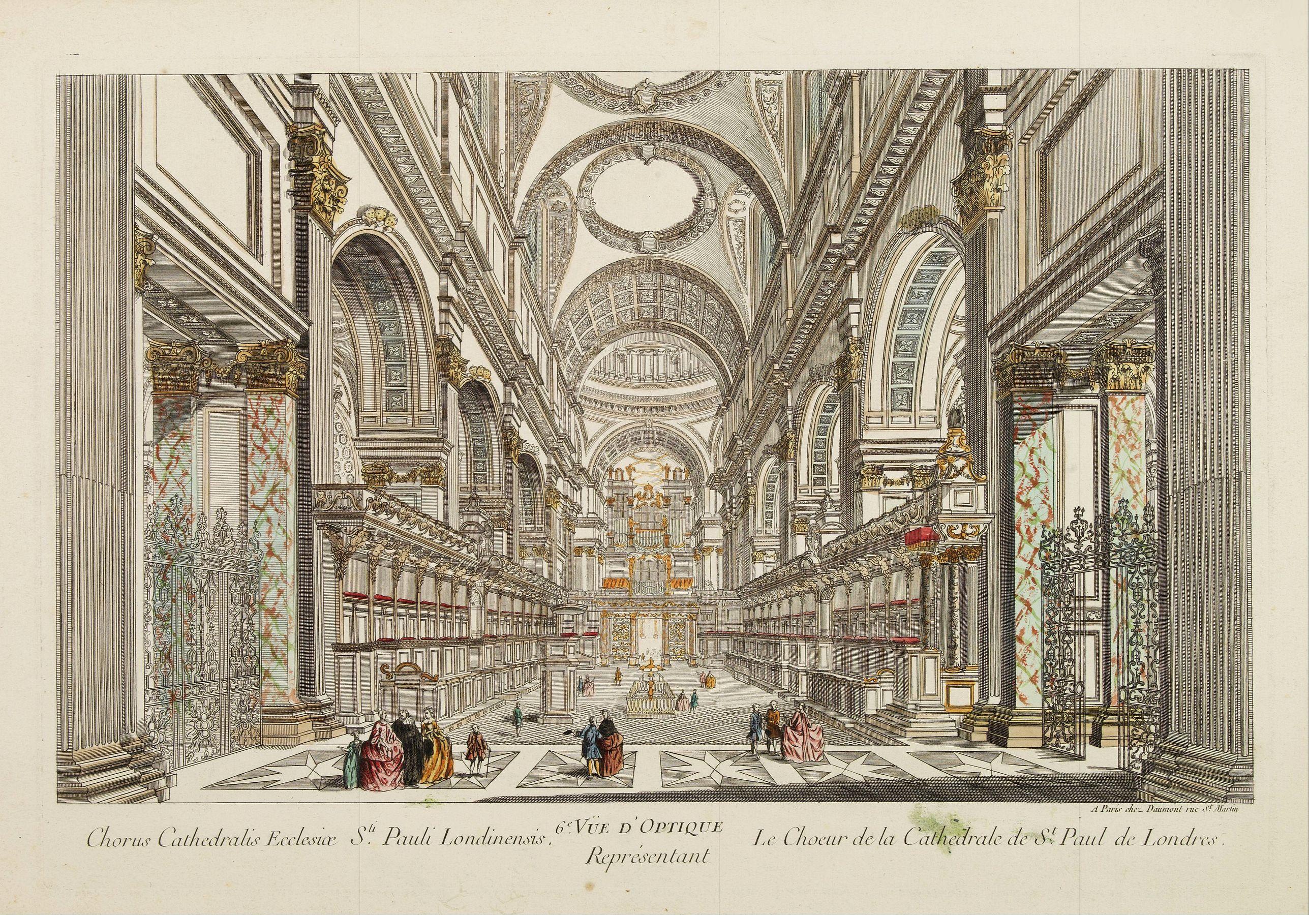 DAUMONT -  6e Vüe d'Optique Représentant Le Chœur de la Cathedrale de St. Paul de Londres.