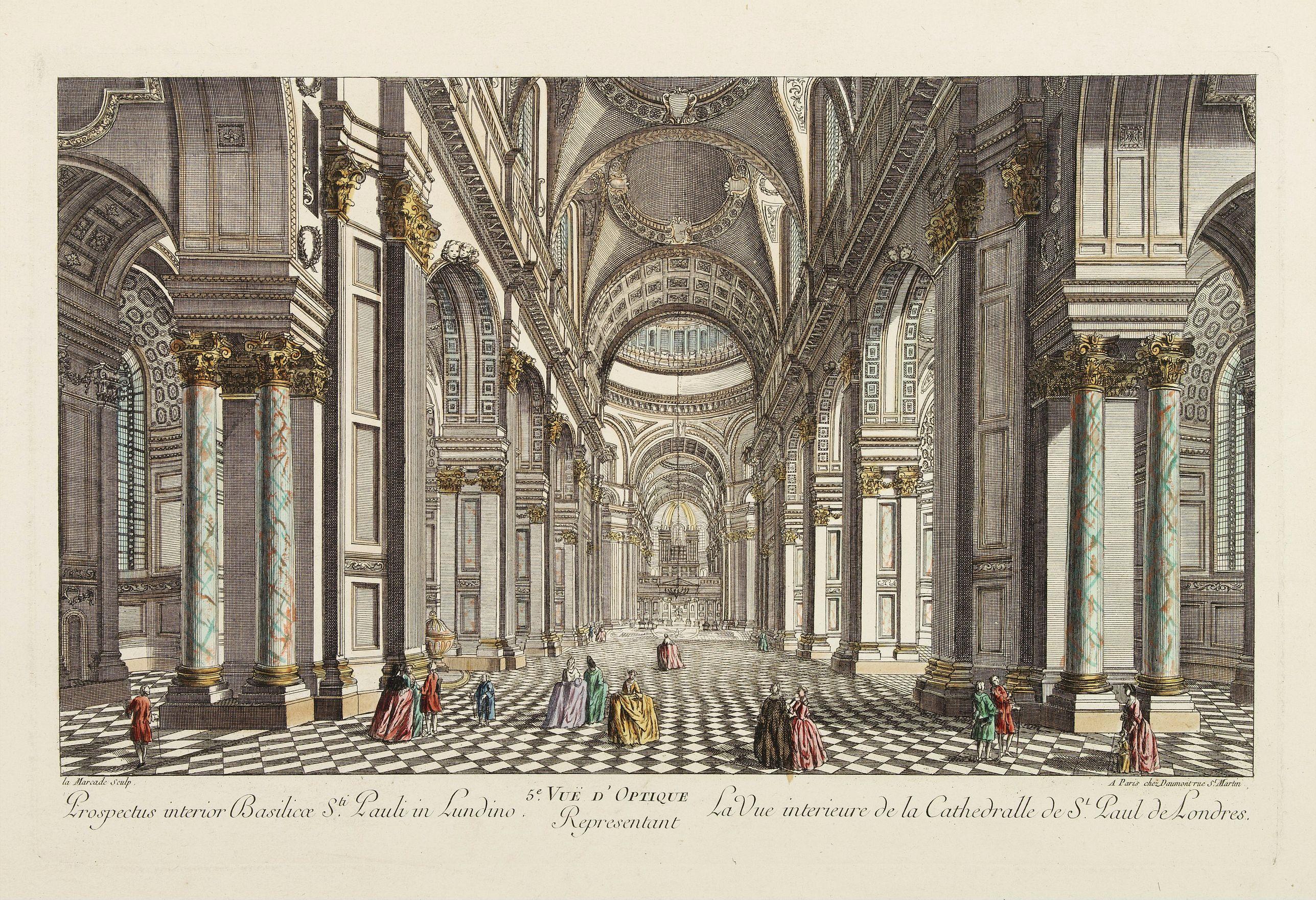 DAUMONT -  5e Vue d'Optique Representant La Vue interieure de la Cathedralle de St. Paul de Londres.