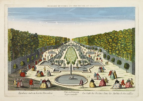 ANONYME -  Vue d'Optique Representant La Salle des Festins dans les Jardins de Versailles.