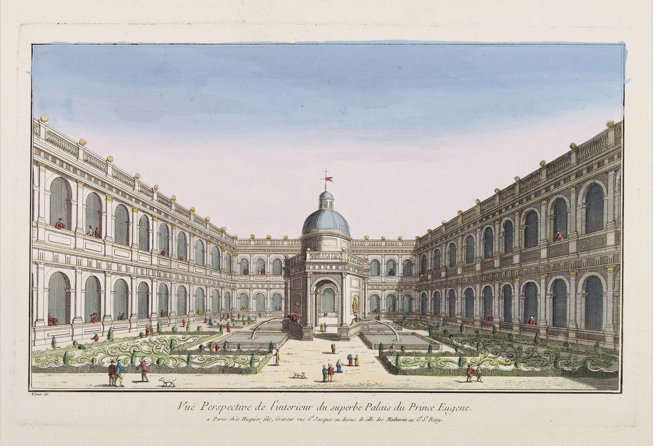 HUQUIER -  Vuë Perspective de l'interieur du superbe Palais du Prince Eugene.