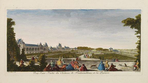 RIGAUD -  Veüe d'une Partie du Château de Fontainebleau et du Parterre.