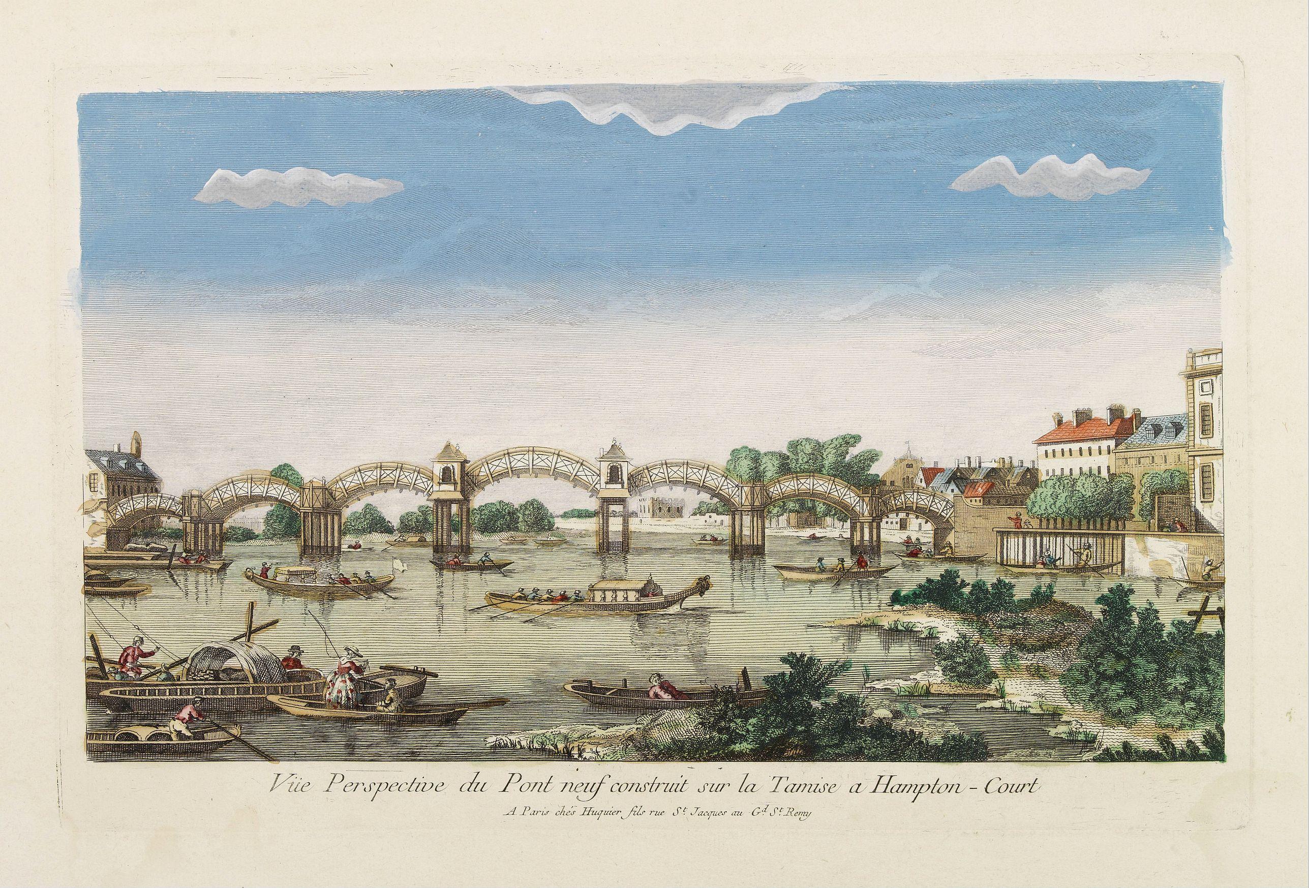HUQUIER -  Vüe Perspective du Pont neuf construit sur la tamise a Hampton-Court.