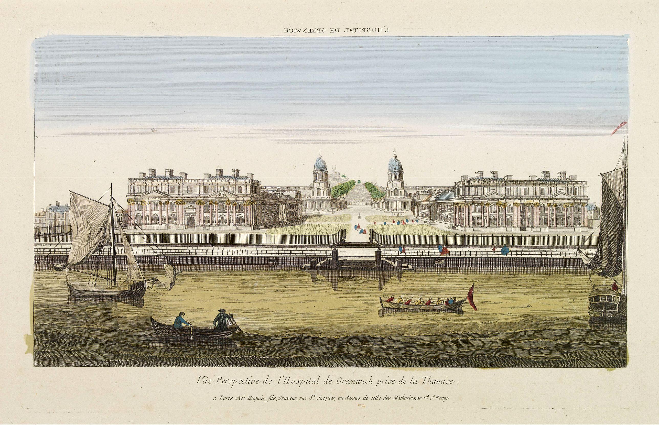 HUQUIER -  Vüe Perspective de l'Hospital de Greenwich prise de la Thamise.