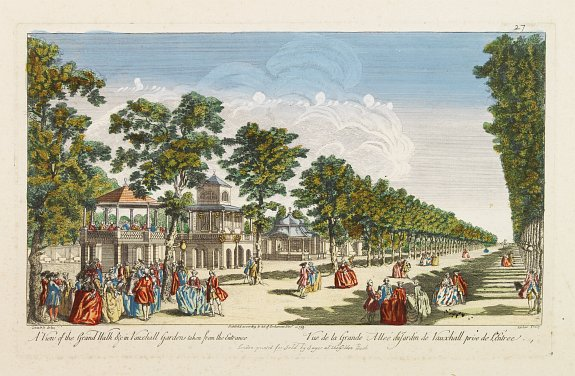 SAYER, R. -  A View of the Grand Walk &c in Vauxhall gardens taken from the Entrance. Publish'd according to Act of Parliament..
