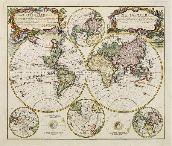 HOMANN HEIRS. - Planiglobii Terrestris Mappa Universalis..  - Mappe-Monde qui represente les deux Hemispheres..