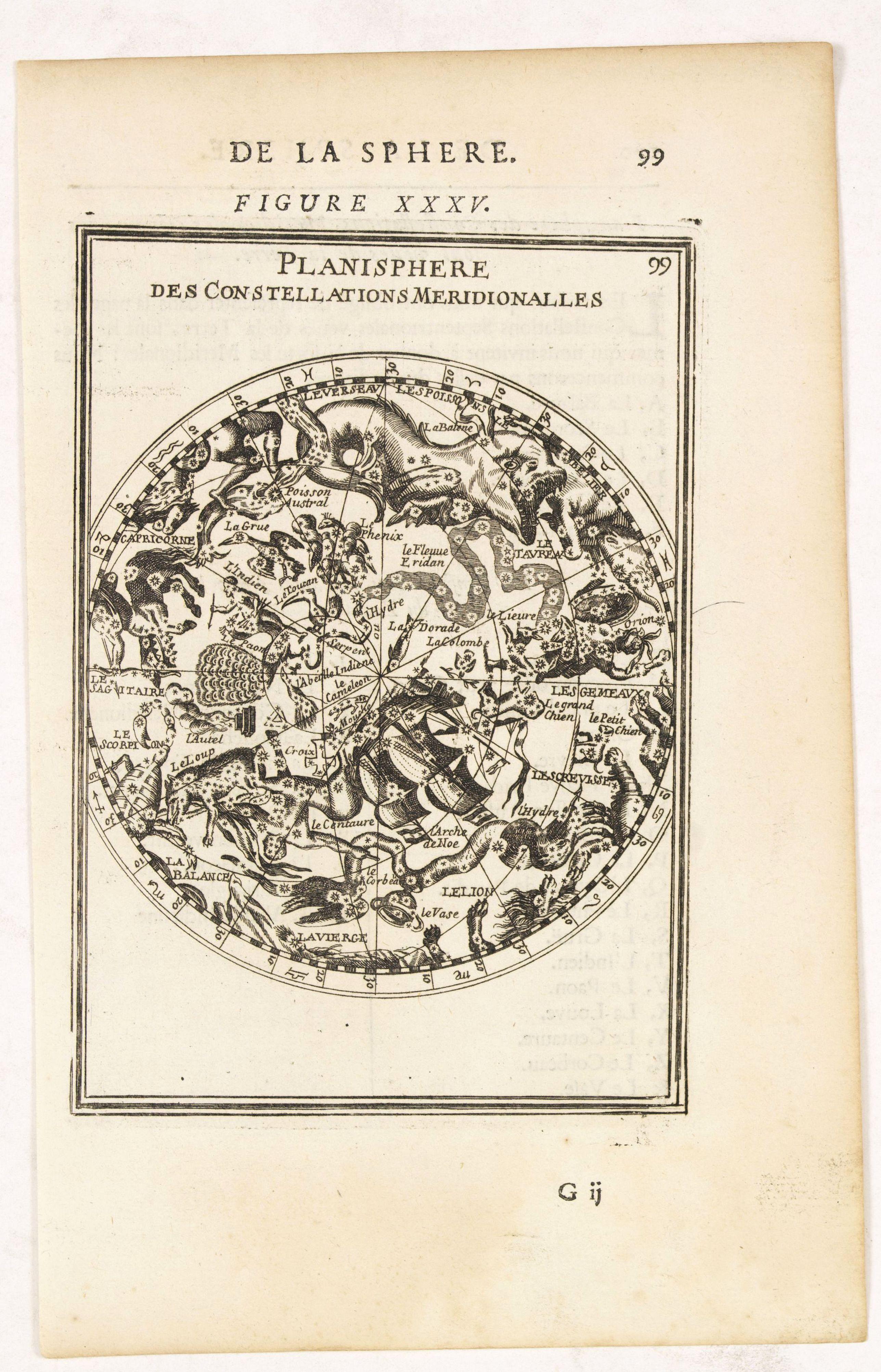 MALLET,A.M. -  Planisphere des Constellations Meridionalles. Figure XXXV.