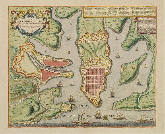 DE FER,N. / DANET -  Plan de la ville de Malthe ses Forts, ses Nouvelles Fortiffications..