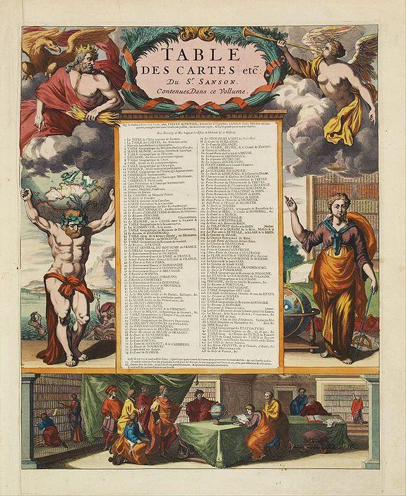 SANSON, N. / MORTIER, P. -  [Title page] Table Des Cartes etc: Du Sr. Sanson..