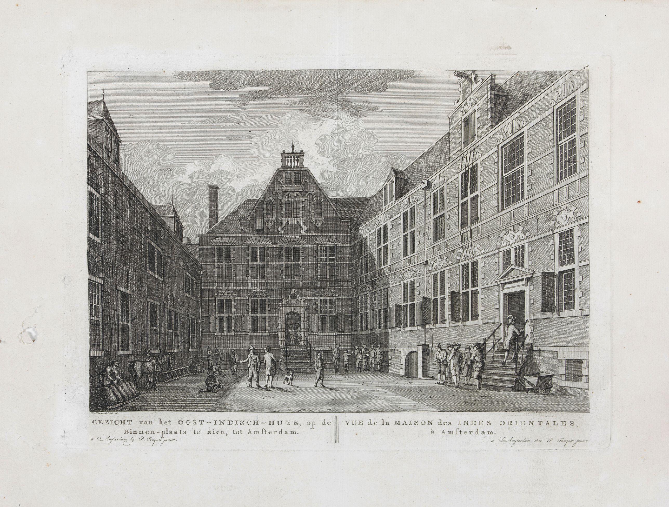 FOUQUET jr., P. -  Gezicht van het Oost-Indisch-Huys, op de binnen plaats te zien, tot Amsterdam.