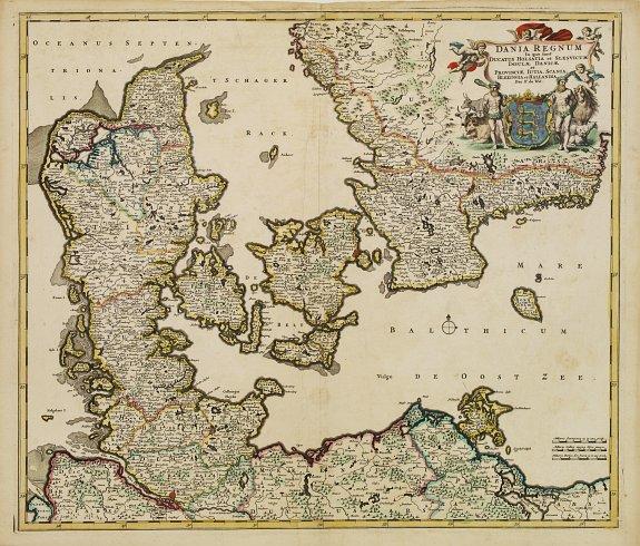 DE WIT,F. -  Dania Regnum In quo sunt Ducatus Holsatia et Slesvicum Insulae Danicae et Provinciae Iutia, Scania, Blekingia et Hallandia. Per F. de W