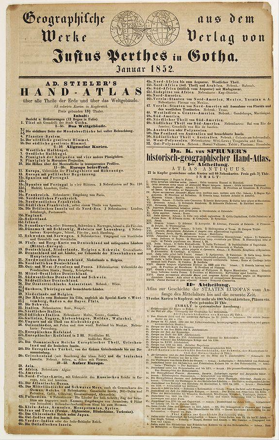 PERTHES,J. -  Geographische Wercke aus dem Verlag von Justus Perthes in Gotha. Januar 1852.