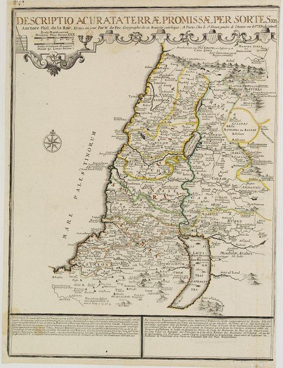 LA RUE, Philippe de / FER, N. de. / DANET. -  Descriptio acurata Terrae Promissae per sortes XII..