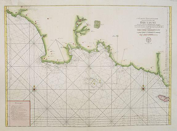 DÉPÔT GÉNÉRAL DE LA MARINE -  6.me Carte Particuliere Des Costes De Bretagne Depuis la Baye D'Hodierne Jusqu' a L'Isle de Groa..