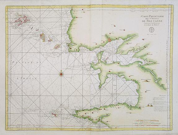DÉPÔT GÉNÉRAL DE LA MARINE. -  5e Carte Particulière des Costes de Bretagne contenant les environs de la Rade de Brest. . . N°25.
