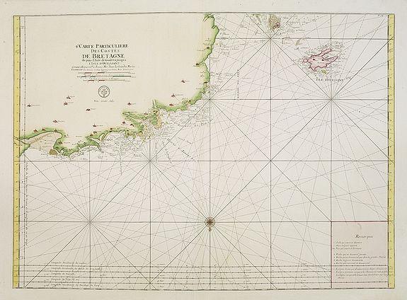 DÉPÔT GÉNÉRAL DE LA MARINE -  4.me Carte Particuliere Des Costes De Bretagne depuis l'Anse de Goulven jusqu'a L'Isle D'Ouessant..