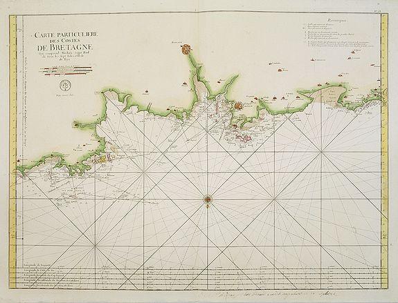 DÉPÔT GÉNÉRAL DE LA MARINE. -  3. me Carte Particulière des Costes de Bretagne qui comprend Morlaix Saint Paul de Leon les Sept Isles et l