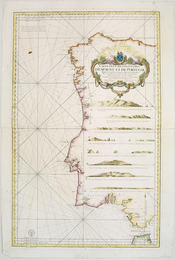 DÉPOT GÉNÉRAL DE LA MARINE -  Carte Réduite Des Costes D'Espagne Et De Portugal Depuis le Cap Pinas jusqu'au Détroit de Gibraltar..