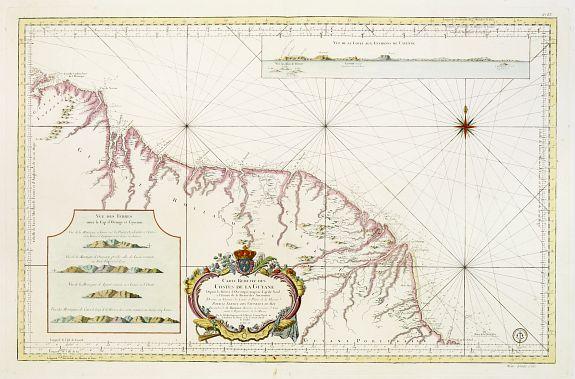 BELLIN,J.N. -  Carte Réduite des Costes de la Guyane Depuis la Riviere d'Orenoque jusqu'au Cap de Nord.. Amazones..