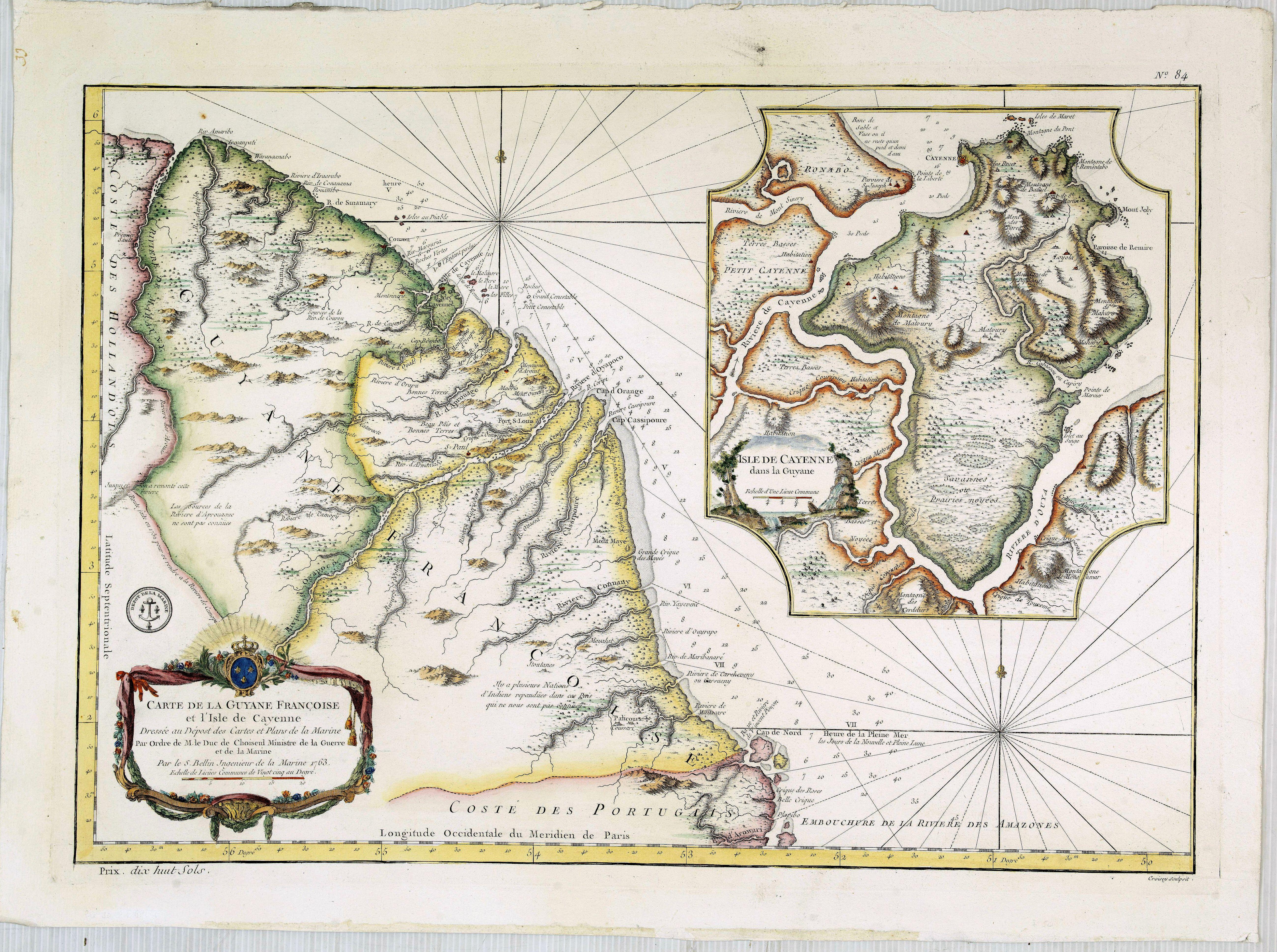 BELLIN, J.N. -  Carte de la Guyane Françoise et l'Isle de Cayenne..