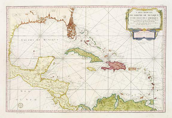 DÉPÔT GÉNÉRAL DE LA MARINE / BELLIN, J.N. -  Carte Réduite Du Golphe Du Mexique Et Des Isles De L' Amérique..