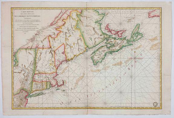 DÉPÔT GÉNÉRAL DE LA MARINE -  Carte Réduite Des Côtes Orientales De L' Amérique Septentrionale Contenant Celles des provinces de New-York et de la Nouvelle Angleterre..