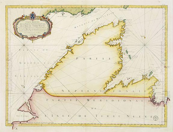 BELLIN, J.N. -  Carte Réduite De La Partie Septentrionale De L'' Isle De Terre Neuve..