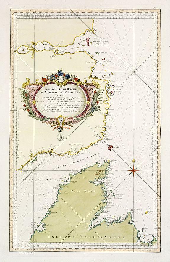 DÉPÔT GÉNÉRAL DE LA MARINE / BELLIN, J.N. -  Suite De La Carte Réduite Du Golphe De St. Laurent Contenant Les Costes de Labrador.. (1758