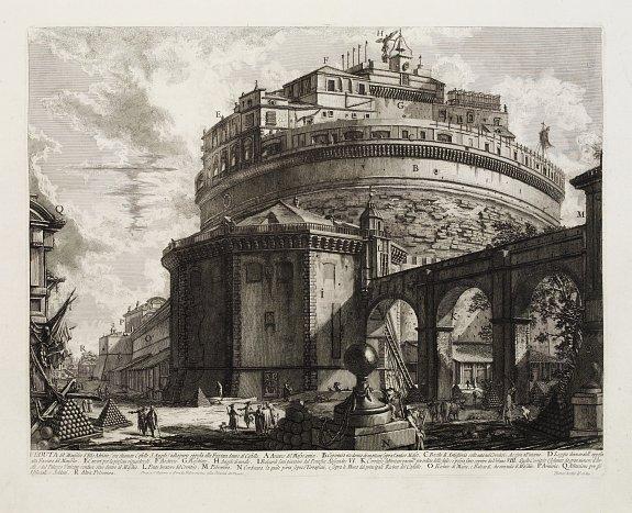 PIRANESI,G.B. - Veduta del Mausoleo d'Elio Adriano (ora chiamato Castello S.Angelo) nella parte opposta alla Facciata dentro al Castello.