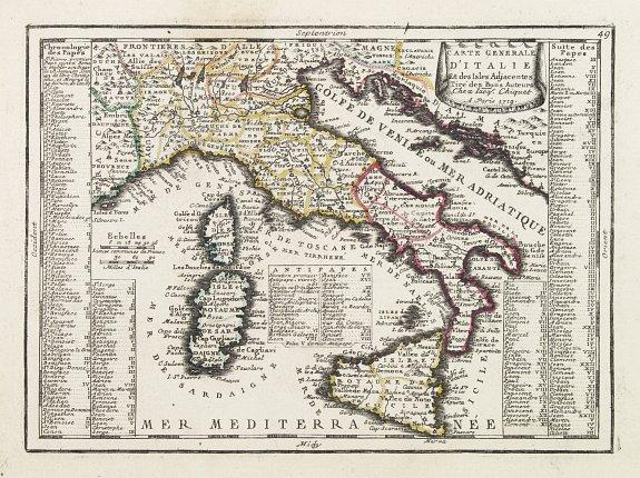 CHIQUET, J. -  Carte Generale D'Italie Et des Isles Adjacentes..