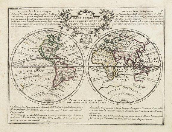 CHIQUET, J. -  Le Globe Terrestre Representé en Deux Plans-Hemispheres. . .