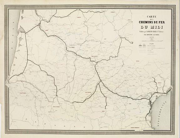 NAPOLÉON CHAIX. -  Carte des Chemins de Fer du Midi..