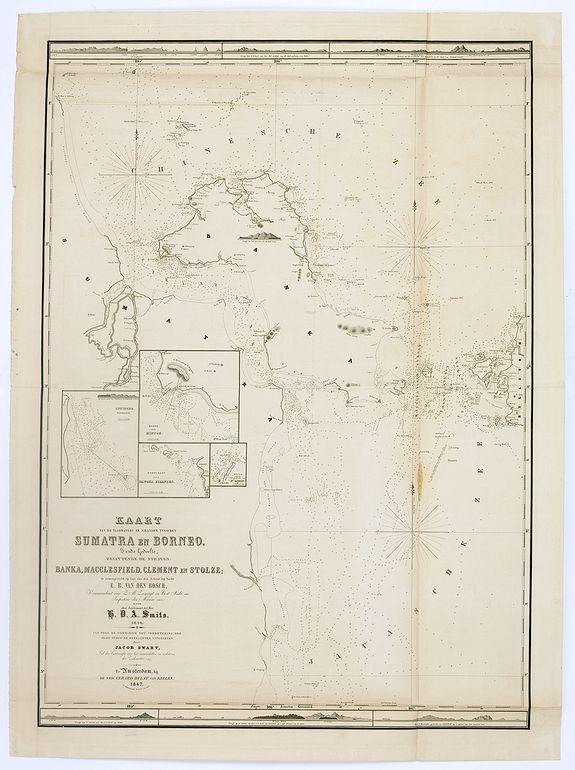 HULST VAN KEULEN, Wed.G. -  Kaart van de vaarwaters en eilanden tusschen Sumatra en Borneo. . .