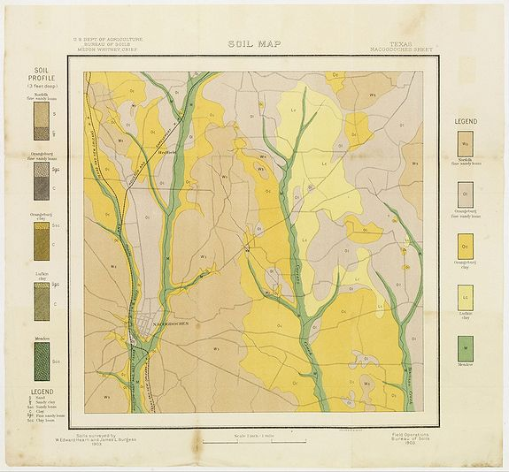 U.S. DEPT. OF ARGICULTURE,  Soil map - Texas, Nacogdoches sheet., antique map, old maps