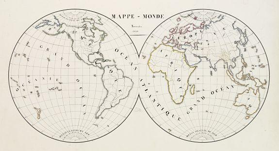 SUHARD, J. -  [Manuscript] Mappe - Monde - Novembre 1838.
