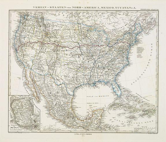 PERTHES, J. / STIELER -  Verein-Staaten von Nord-America, Mexico, Yucatan..
