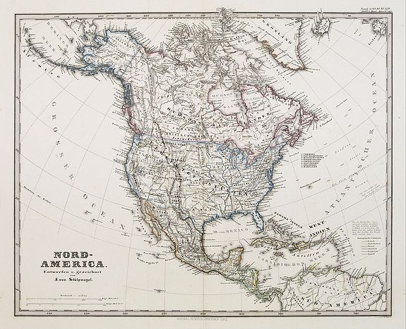 PERTHES, J. / STIELER -  Nord-America. Entworfen u. gezeichnet von F. von Stülpnagel.