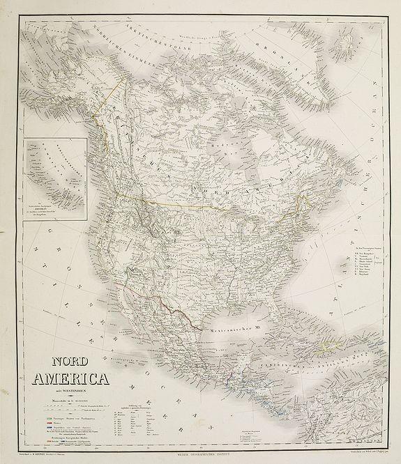 GEOGRAPHISCHES INSTITUT. -  Nord America mit Westindien. . .