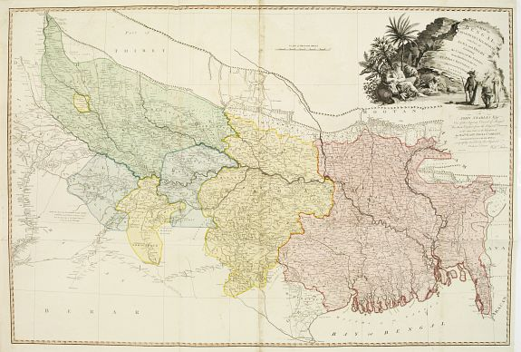 FADEN, W.,  A Map of Bengal, Bahar, Oude and Allahabad with Part of Agra and Delhi Exhibiting the Course of the Ganges from Hurdwar to the Sea.., antique map, old maps