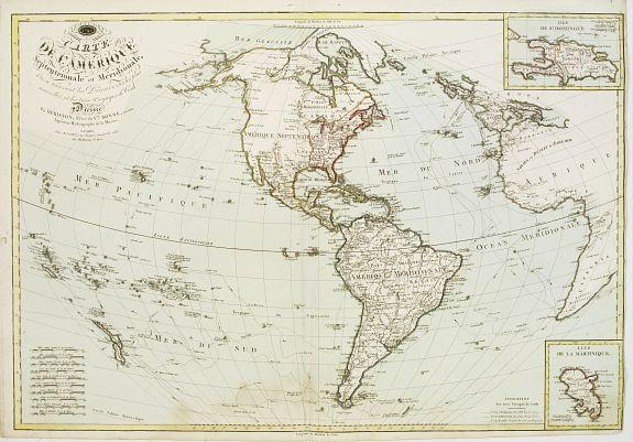 BASSET -  Carte de L'Amérique Septentrionale et Méridionale ou se trouvent les Découvertes les plus nouvelles..