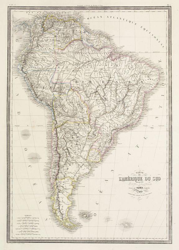 GARNIER FRERES -  Carte de L'Amérique du Sud indiquant les divisions politiques actuelles..