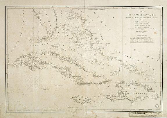 DÉPOT DE LA MARINE -  Carte des Grandes Antilles (Cuba, Haïti, Jamaïque, Archipel de Bahama..