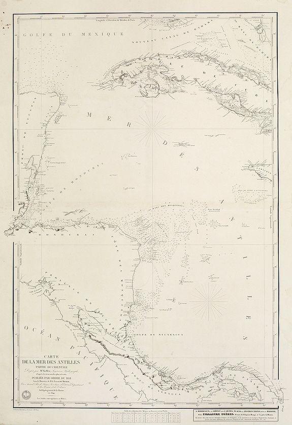 DÉPOT DE LA MARINE -  Carte de la Mer des Antilles - Partie Occidentale. . .