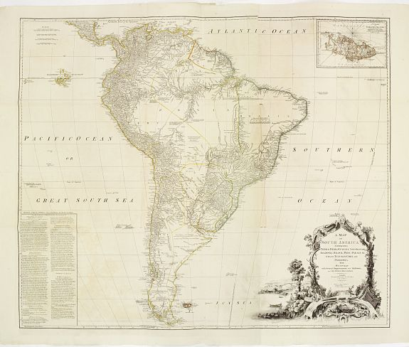 SAYER, R., A Map of South America containing Tierra-Firma, Guayana, New Granada, Amazonia, Brasil, Peru, Paraguay, Chaco, Tucuman, Chili and Patagonia from Mr. D'Anville with Several Improvements and Additions and the Newest Discoveries.., antique map, old maps