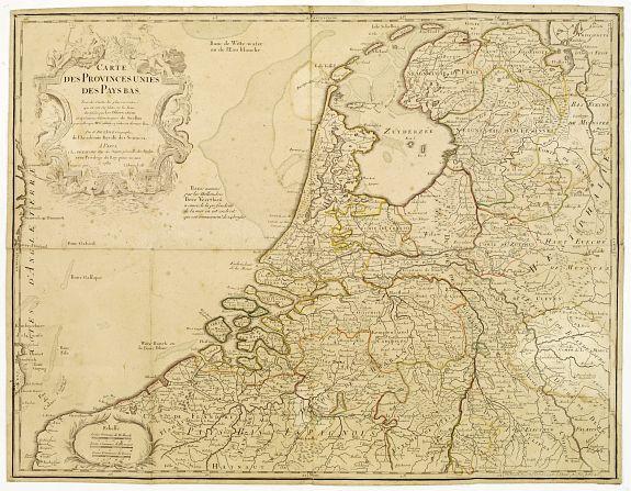 De L'ISLE/ DEZAUCHE, J.A. -  Carte des Provinces Unies des Pays Bas..