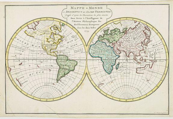 HARREVELT, E.van / CHANGUION, D.J. -  Mappe-Monde ou Description du Globe Terrestre.