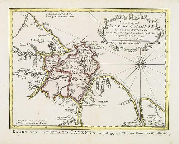 HARREVELT,E.van/ CHANGUION,D.J. -  Carte de L'Isle de Caiene et de ses environs.