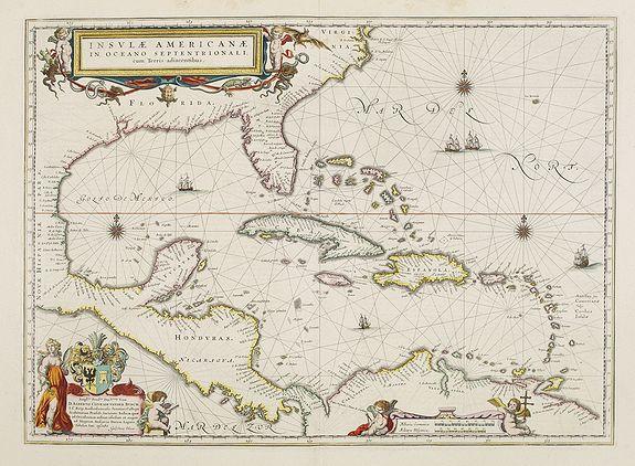 BLAEU, W. -  Insulae Americanae in Oceano Septentrionali cum Terris adiacentibus.