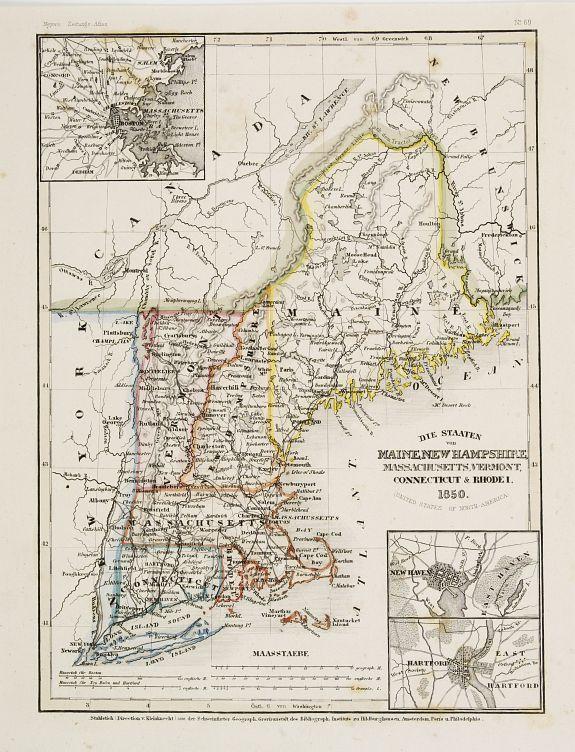 Old Map By Grassl Die Staaten Von Maine New Hampshire