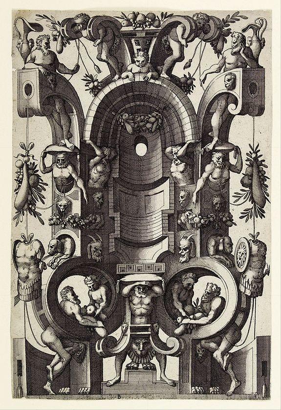 VAN DOETECUM, J. & L. -  Niche in the form of a cartouche.