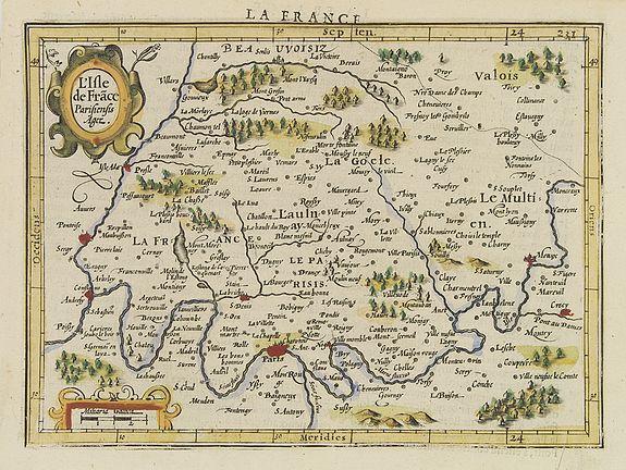 MERCATOR, G./ HONDIUS, J. -  L''Isle de Frace. Parisiensis Ager.